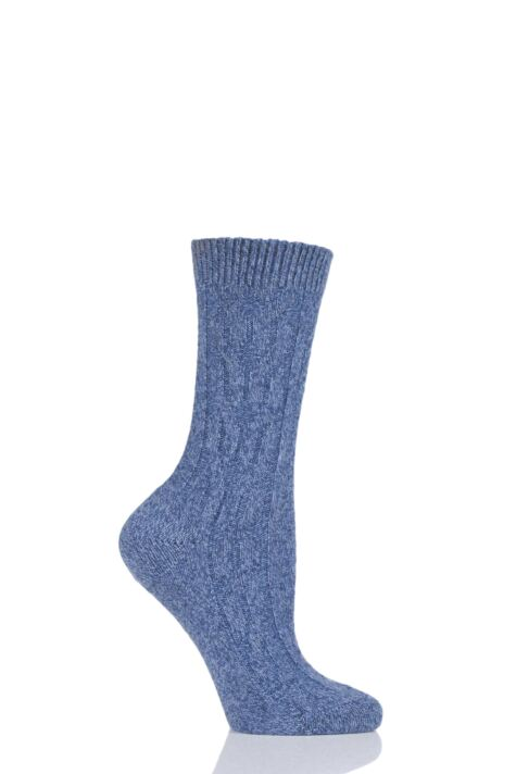 Ladies 1 Pair Pantherella Cristina Cable Knit 85% Cashmere Socks Product Image