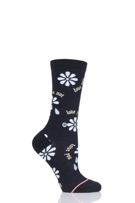 Ladies 1 Pair Stance Love You Not Daisy Cotton Socks Product Image