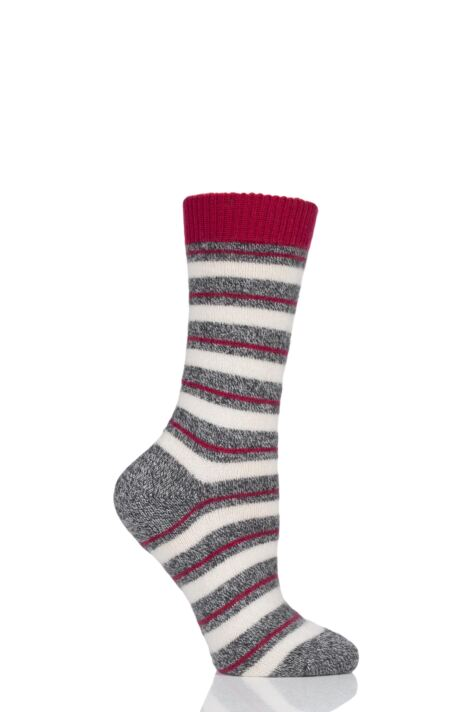 Ladies 1 Pair Pantherella Sally Striped 84% Cashmere Socks Product Image