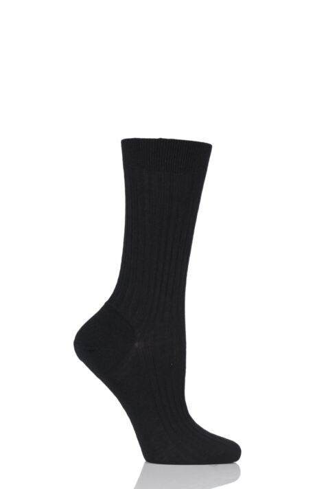 Ladies 1 Pair Pantherella Classic Merino Wool Ribbed Socks Product Image