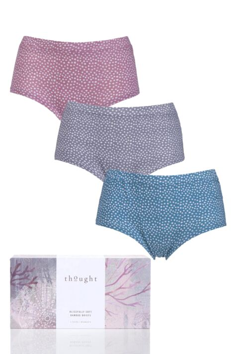 Ladies 3 Pair Thought Dee Bamboo and Organic Cotton Briefs In Gift Box Product Image