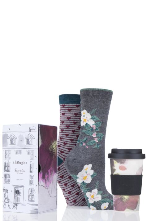 Ladies 2 Pair Thought Floral Bamboo and Organic Cotton Socks with Bamboo Cup in Gift Box Product Image