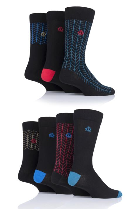Mens 7 Pair Jeff Banks Ripon Plain and Contrast Cotton Socks Product Image