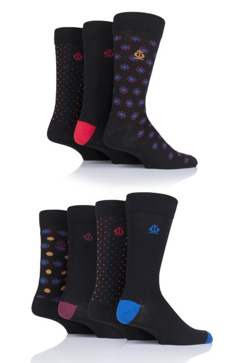 Mens 7 Pair Jeff Banks Carlisle Dots and Spots Cotton Socks Product Image