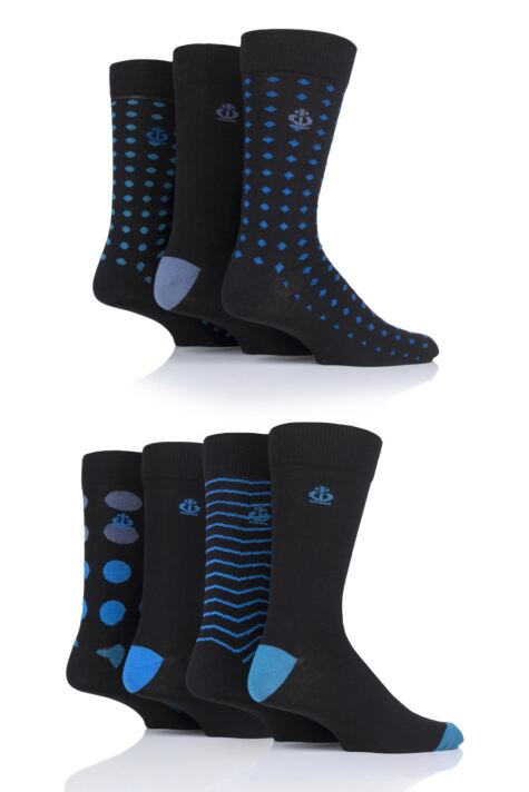 Mens 7 Pair Jeff Banks Hastings Dots and Waves Cotton Socks Product Image