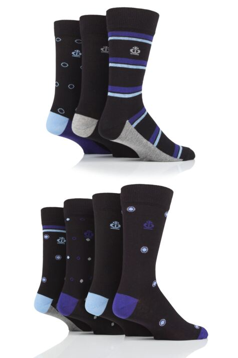 Mens 7 Pair Jeff Banks Stripe and Spots Cotton Socks Product Image
