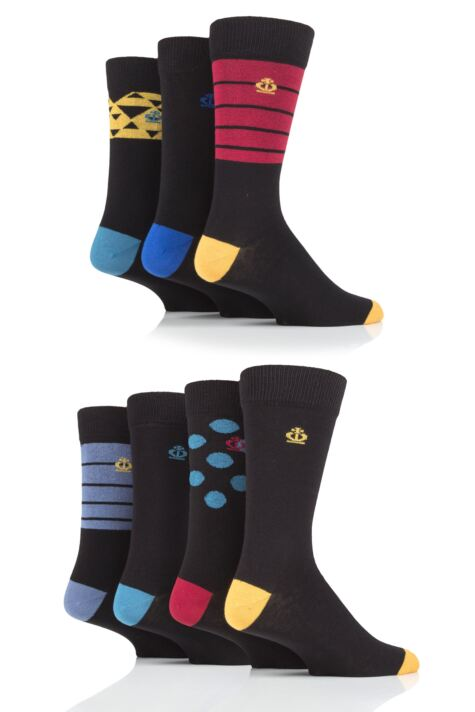 Mens 7 Pair Jeff Banks Triangles, Stripes and Dots Cotton Socks Product Image