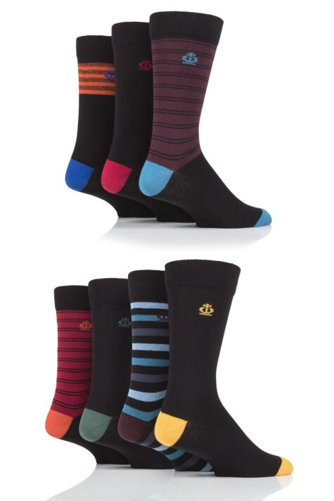 Mens 7 Pair Jeff Banks Fine Stripes Cotton Socks Product Image