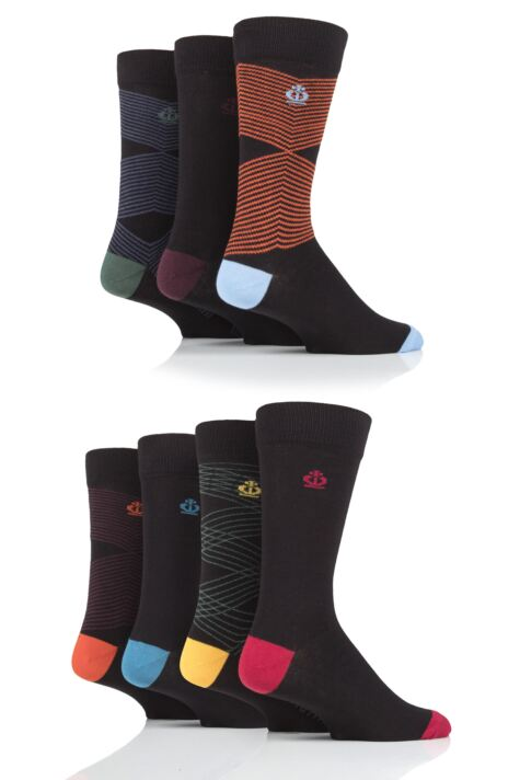 Mens 7 Pair Jeff Banks Zig Zag Cotton Socks Product Image