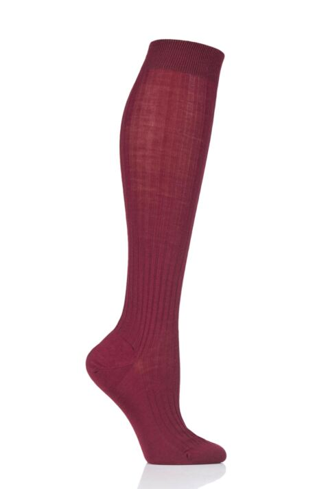 Ladies 1 Pair Pantherella Classic Merino Wool Ribbed Knee High Socks Product Image