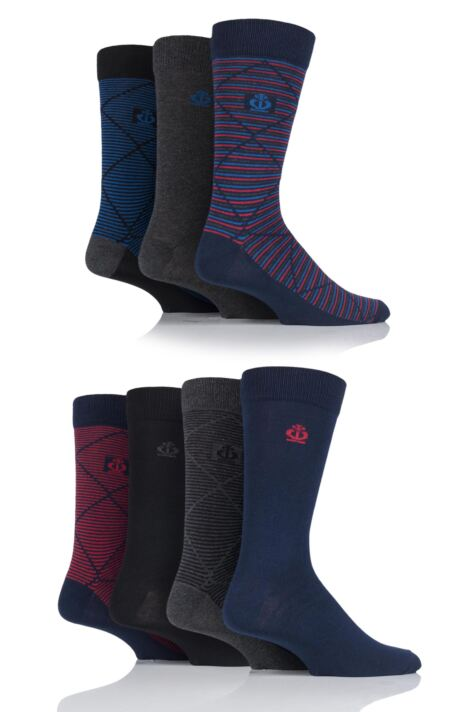 Mens 7 Pair Jeff Banks Blackheath Stripe Diamond and Plain Cotton Socks Product Image
