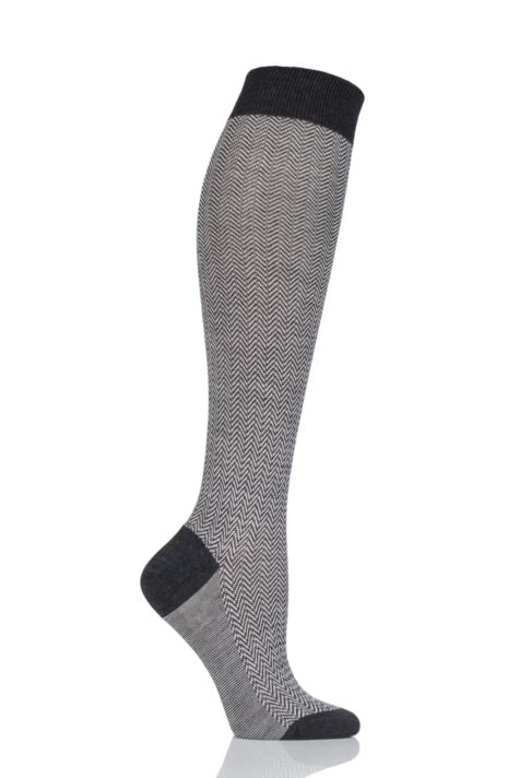Ladies 1 Pair Pantherella Hatty Herringbone Merino Wool Knee High Socks Product Image