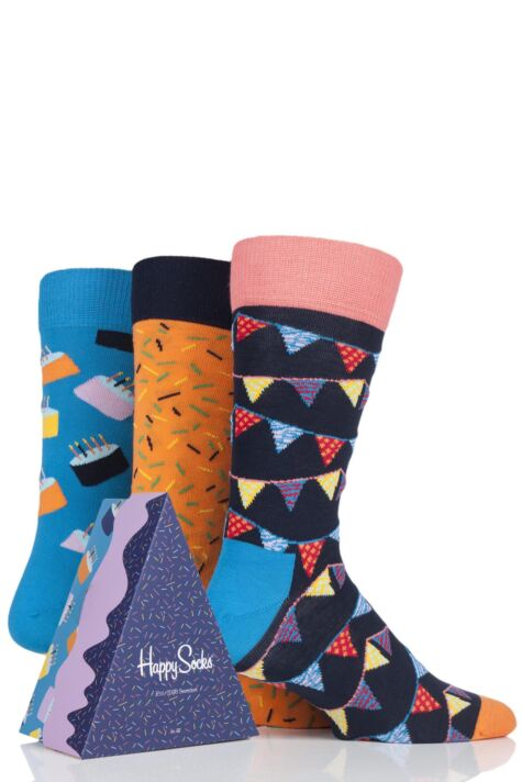 Mens and Ladies 3 Pair Happy Socks Happy Birthday Socks in Cake Gift Box Product Image