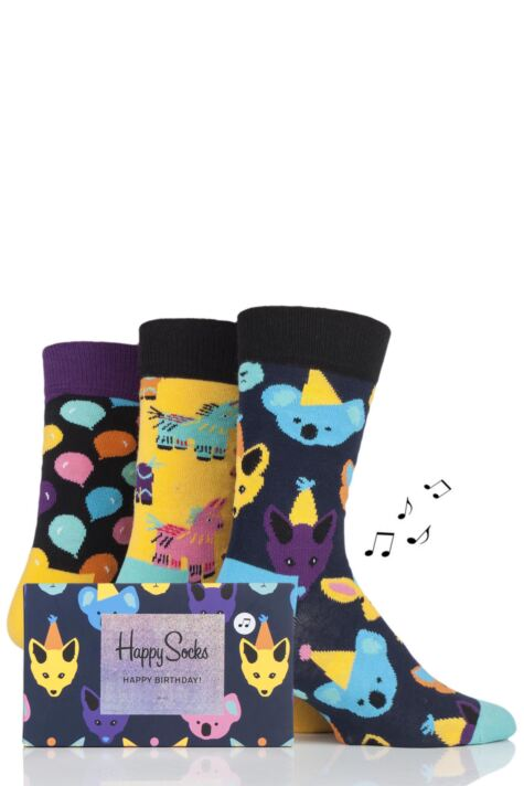 Mens and Ladies 3 Pair Happy Socks Party Animal Socks in Musical Gift Box Product Image