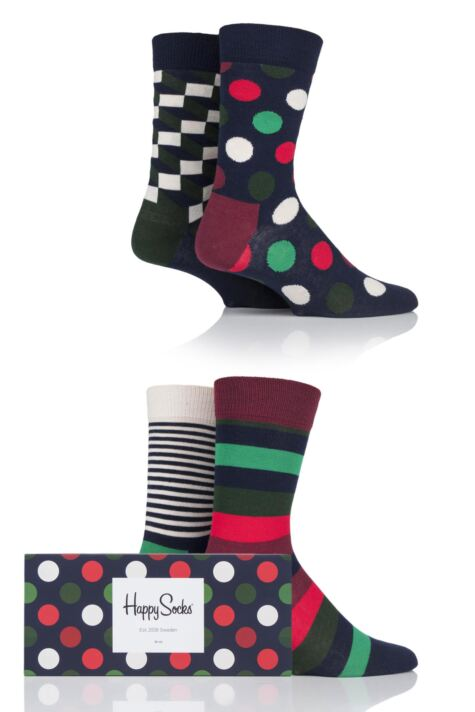 Mens and Ladies 4 Pair Happy Socks Multi Patterned Socks in Gift Box Product Image