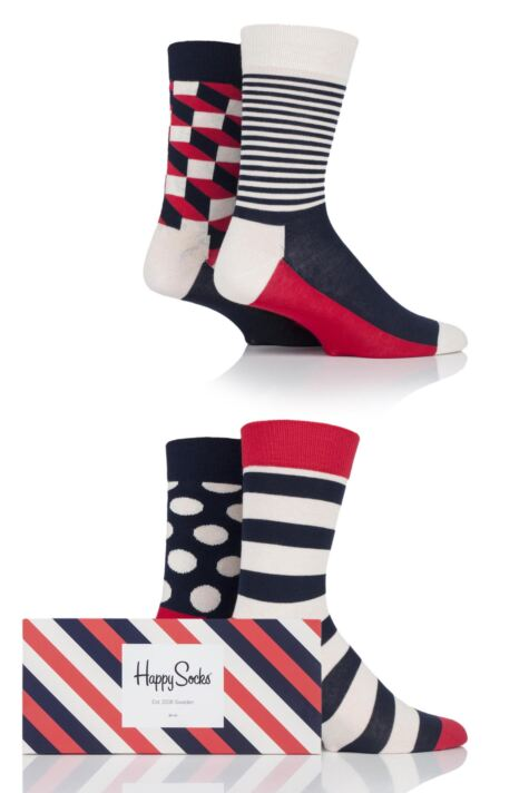 Mens and Ladies 4 Pair Happy Socks Patterned Socks in Gift Box Product Image