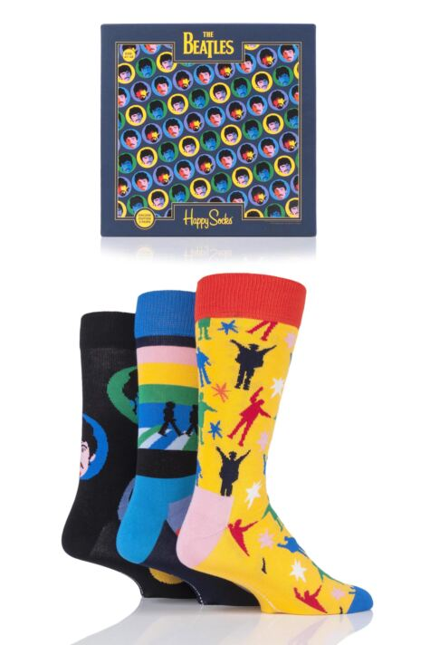 Mens and Ladies 3 Pair Happy Socks The Beatles 2019 Gift Boxed Cotton Socks Product Image