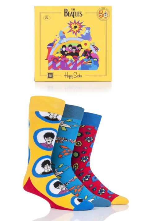 Happy Socks 3 Pair Beatles 50th Anniversary Yellow Submarine EP Collectors Gift Boxed Socks Product Image
