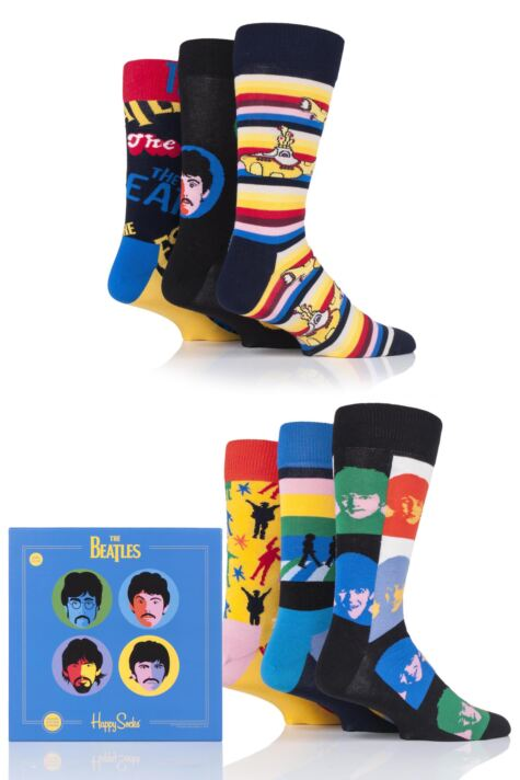 Happy Socks 6 Pair Beatles LP Collectors 2019 Gift Boxed Socks Product Image