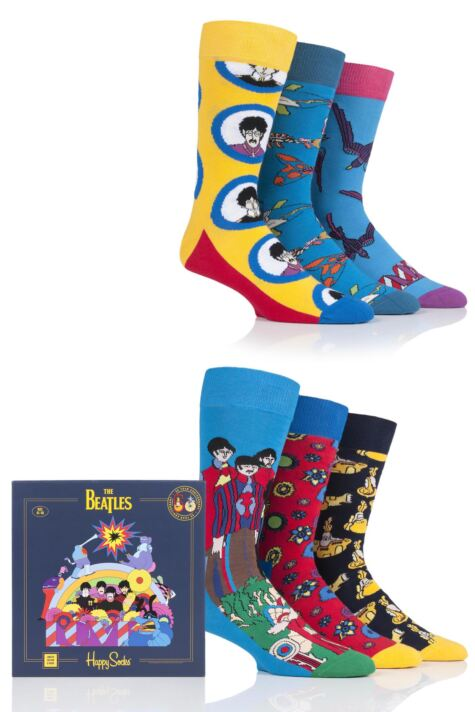 Happy Socks 6 Pair Beatles 50th Anniversary Yellow Submarine LP Collectors Gift Boxed Socks Product Image