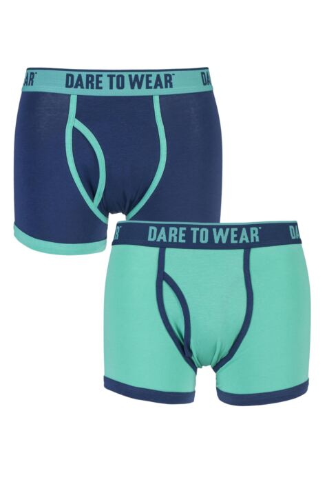 Mens 2 Pack Dare to Wear Colourburst Turquoise and Navy Fitted Keyhole Trunks 25% OFF This Style Product Image