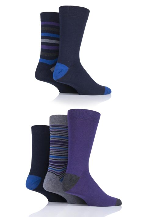 Mens 5 Pair Farah Gift Boxed Plain and Striped Cotton Socks Product Image