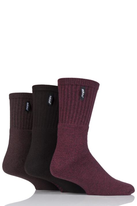 Mens 3 Pair Farah Cushioned Foot Plain Boot Socks Product Image