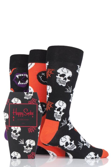 Mens and Ladies 3 Pair Happy Socks Halloween Socks in Gift Box Product Image