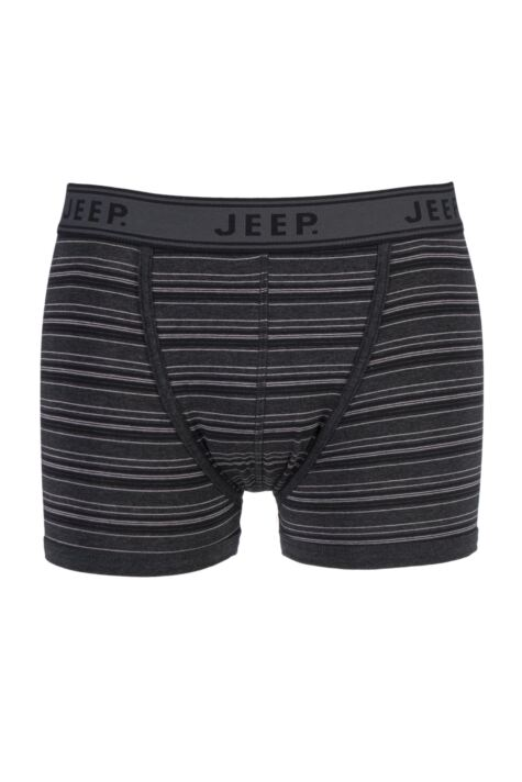 Mens 1 Pair Jeep Spirit Cotton Pin Stripe Trunks In Charcoal Product Image