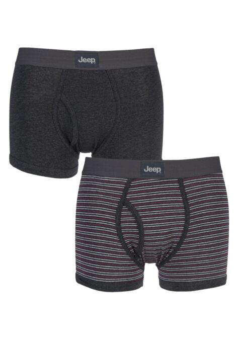 Mens 2 Pack Jeep Dual Fine Stripe and Plain Hipster Trunks Product Image