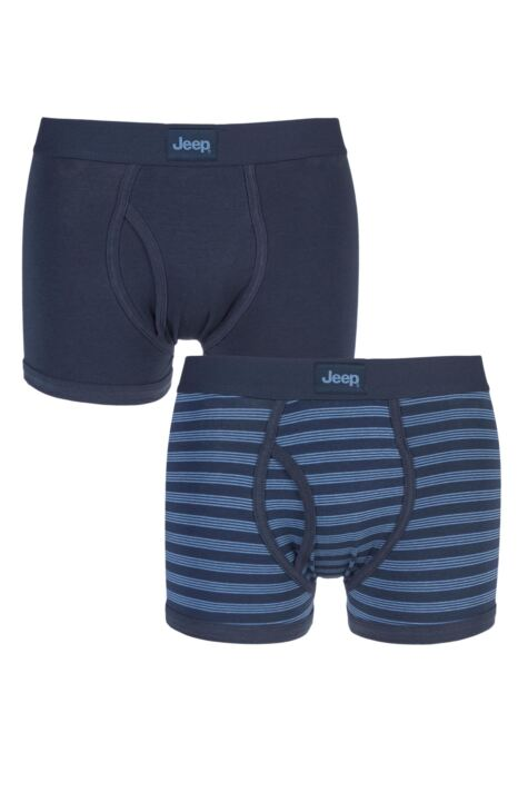 Mens 2 Pack Jeep Tonal Stripe and Plain Hipster Trunks Product Image