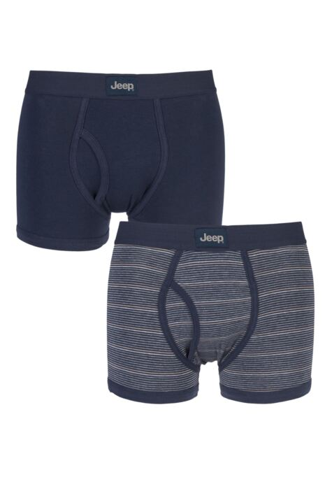 Mens 2 Pack Jeep Micro Stripe and Plain Hipster Trunks Product Image