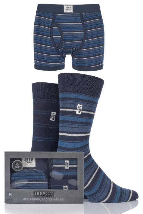 Mens 3 Pack Jeep Spirit Gift Boxed Mixed Striped Boxer Shorts and Socks Product Image