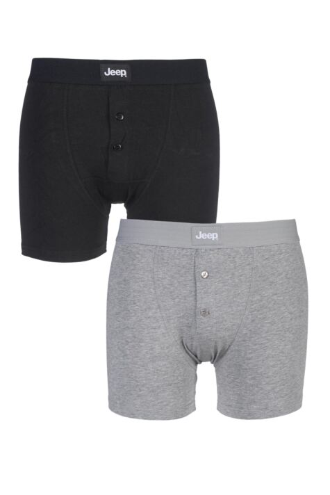 Mens 2 Pack Jeep Cotton Plain Fitted Button Front Trunk Boxer Shorts Product Image