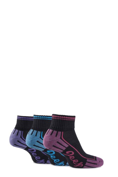 Ladies 3 Pair Jeep Cushioned Cotton Ankle Socks Product Image