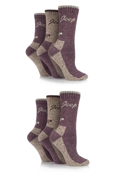 Ladies 6 Pair Jeep Terrain Cushioned Performance Boot Socks Product Image