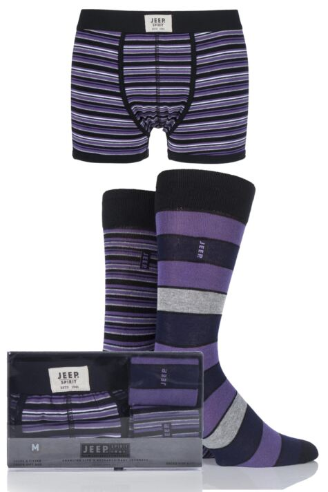 Mens 3 Pack Jeep Spirit Gift Boxed Mixed Striped Trunks and Socks Product Image