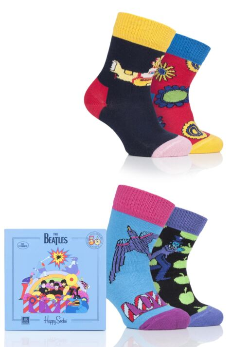 Happy Socks Baby and Kids 4 Pair Beatles 50th Anniversary Yellow Submarine EP Collectors Gift Boxed Socks Product Image