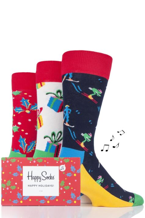 Mens and Ladies 3 Pair Happy Socks Christmas Socks in Musical Gift Box Product Image