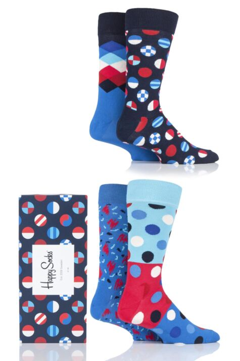 Mens and Ladies 4 Pair Happy Socks Navy and Blue Mix Socks in Gift Box Product Image