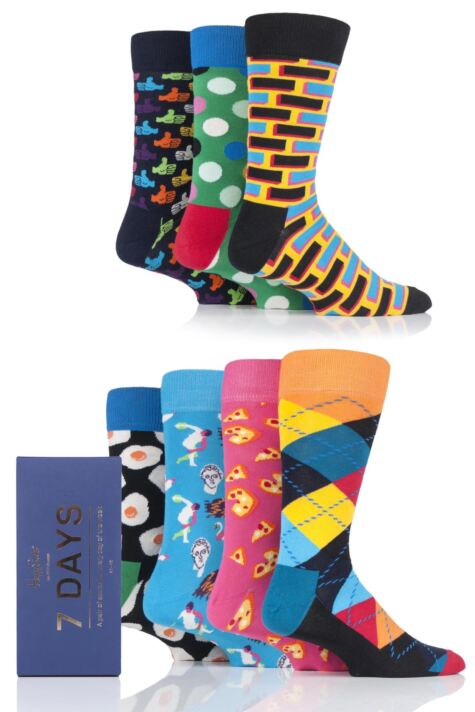 Mens and Ladies 7 Pair Happy Socks 7 Days Socks Gift Box Product Image