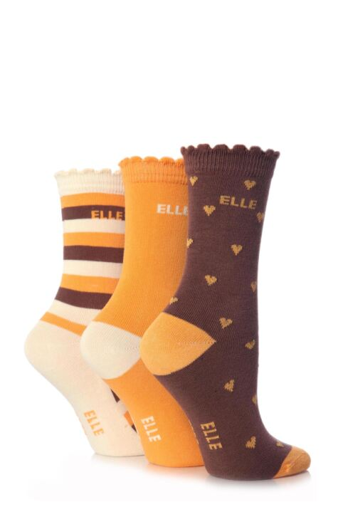 Girls 3 Pair Elle Patterned Cotton Socks Product Image