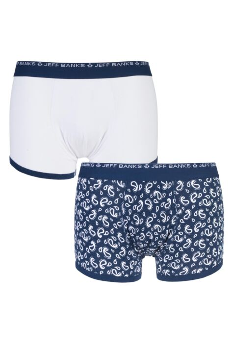 Mens 2 Pack Jeff Banks Stockport Plain and Paisley Cotton Trunks Product Image