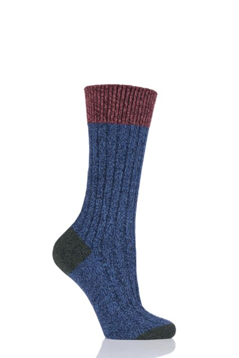 Ladies 1 Pair Scott Nichol Moseley Contrast Heel and Toe Wool Socks Product Image