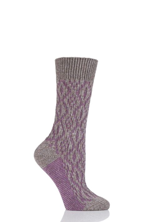 Ladies 1 Pair Scott Nichol Tatton Cable Stitch Wool Socks Product Image