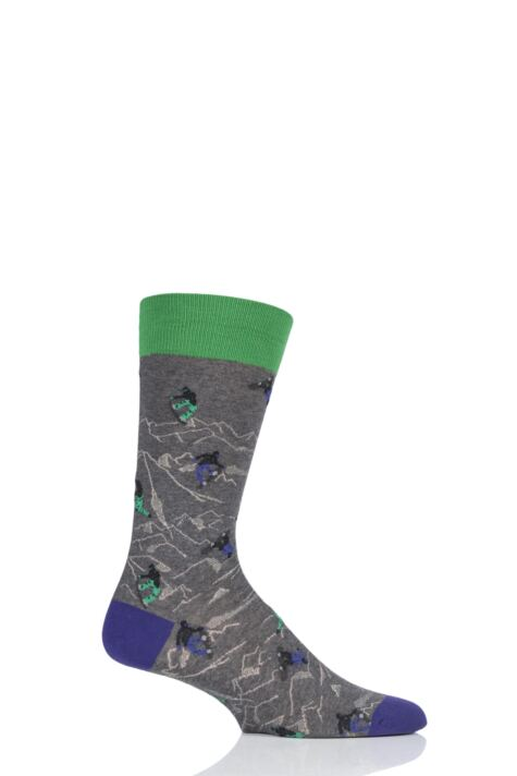 Mens 1 Pair Scott Nichol All Over Snowboarders Cotton Socks Product Image