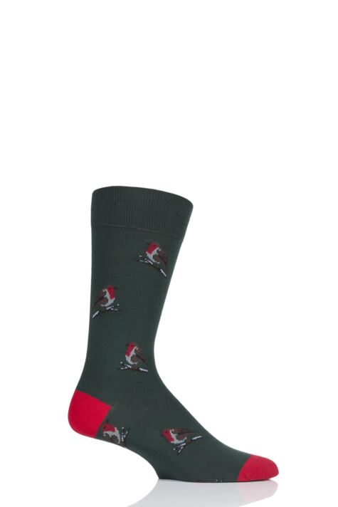 Mens 1 Pair Scott Nichol All Over Robins Cotton Socks Product Image