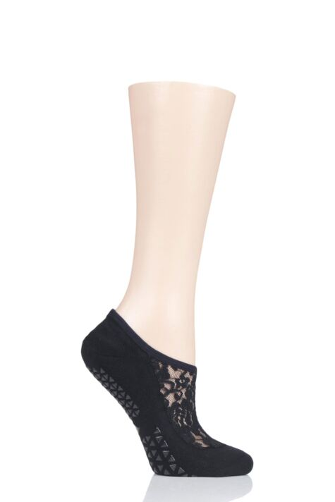 Ladies 1 Pair Tavi Noir Maddie Organic Cotton Sheer Top Yoga Socks with Grip Product Image