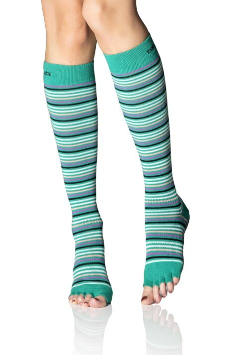Ladies 1 Pair ToeSox Scrunch Half Toe Organic Cotton Knee High Socks Product Image