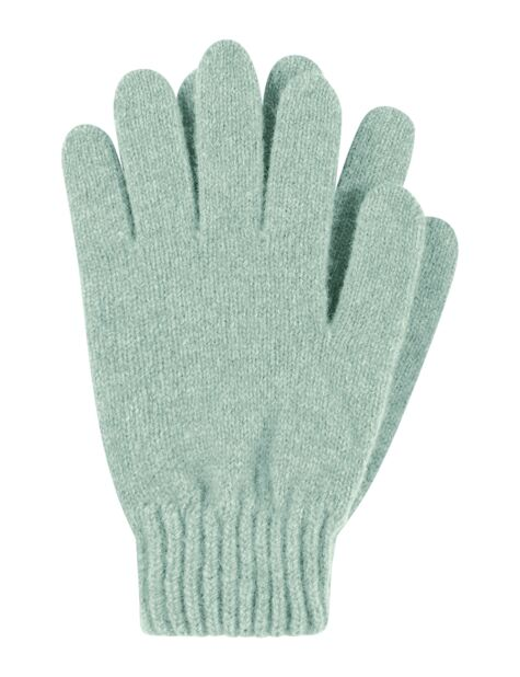 Ladies 1 Pair Great & British Knitwear Made In Scotland 100% Cashmere Plain Gloves In Green Product Image
